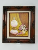 Floral Still Life Oil on Canvas Artist Signed Original Painting Ornate  Frame