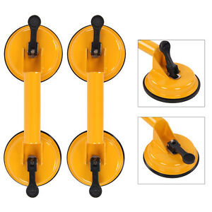 2x Dual Suction Cup Pad Lifter Heavy Duty Sucker Plate Glass tile Mirror Lifter