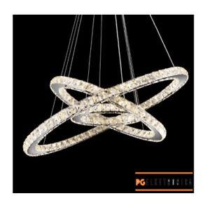 Lampadario a sospensione LED design moderno ad anelli in acciaio e cristallo 55w