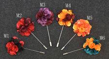 "Handmade Men's Flower Lapel Pin 1.6"" Imitative Satin Mixed Color Floral"