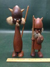 Two MCM Vintage Teak Viking Figurines Denmark