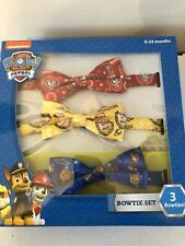 Paw Patrol Nickelodeon Bow Tie Set Of 3 Marshall, Rubble & Chase - NEW!
