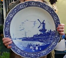 MINT Delft Boch Royal Sphinx Cabinet Wall Charger Platter Blue White 40 cm LARGE