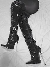 "7"" + Spike Metal Heel BDSM Thigh High Fetish Boot 12 Woman 42 euro  not 6 inch"