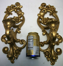 Pair French Rococo Style Gold Gilt Wall Candle Holders Sconces Homco 1971