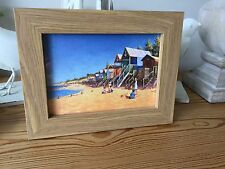 Seaside Beach Hut Picture In Oak Frame