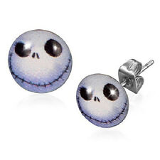 10mm Stainless Steel Nightmare Before Christmas Jack Skull Stud Earrings   b21