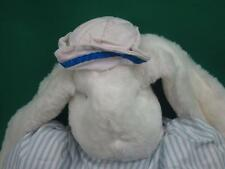 BIG TARSHA WHITE BUNNY RABBIT HAT STRIPED BLUE OUTFIT LOP EARS  PLUSH STUFFED