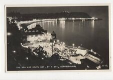 The Spa & South Bay By Night Scarborough RP Postcard 255a