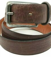 KENNETH COLE Men's Brown Pebbled Leather Brass Buckle Belt Size 36 - Textured