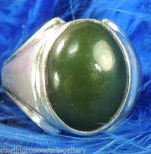 Vintage Men's Green Quartz 0.925 STERLING SILVER Band Ring size 10 or T 1/2