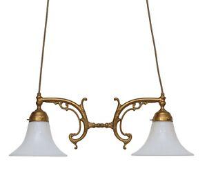 Country Home Berliner Ceiling Light Pendant Light Brass Lamp Opal Glass