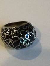 COACH Butterfly and Crystal Dome Ring Black and Silver Beautiful EUC Size 6