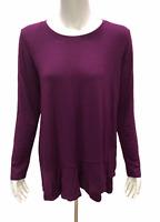 Cuddl Duds Women's Softwear Stretch Crossover Hem Tunic Top Purple Medium Size