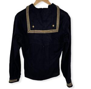 Vintage 1940s Naval Clothing Uniform Shirt 100% Wool Navy WWII neckerchief