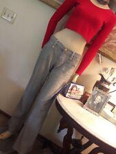 Sass & Bide rairoad engineer blue white ticking stripe pants jeans 31 L 12 NWOT