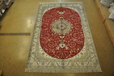 Red-Cream Shed Free Rug 6' x 9' Silk Tabriz Area Rugs Sale Hand-Knotted