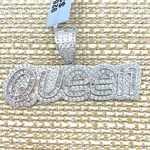 """925 STERLING SILVER ICY BLING SILVER """"QUEEN"""" LETTER PENDANT, Queen, Hip-hop"""