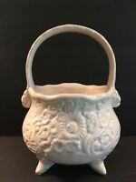 Hull Art Pottery Vintage 1940's Cauldron Flower Design Bowl Vase w/Handle Basket