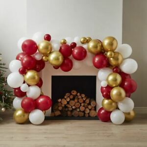 Traditional Christmas Balloon Arch   Red White Festive Garland Decoration x100