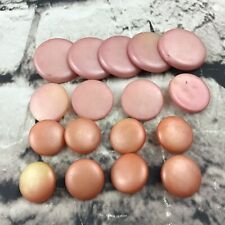 Vintage Buttons Lot Of 17 Pale Pink Plastic Round Assorted Sizes Sewing Closures
