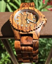 Wood Watch Wristwatch Bewell Wooden Solid Natural Real Zebra Wood Men's Quartz