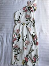 VERY White Pink Flower Floral Dress One Shoulder Bodycon, UK Size 10