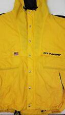 VTG Polo Sport Full Zip Windbreaker Jacket American Flag Patch Logo Yellow Large
