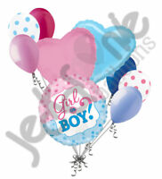 9 pc Baby Gender Reveal Boy Girl He She Balloon Bouquet Party Shower Shower Game