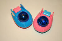 2 Vintage Dime Store Plastic Friction Motor UFO Space Ship Toy 1980s Nos New