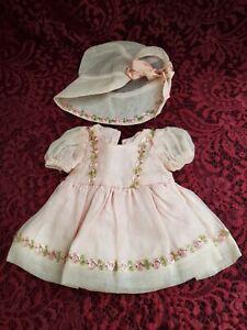 Vintage Small Doll Pink 1 Piece Dress Lace W/ Matching Pink Bonnet Pretty Nice