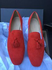 $168 J CREW WOMEN'S 7 GEORGIE SUEDE TASSEL LOAFERS RED SOLD OUT!!