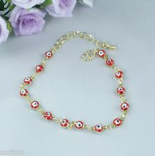 B2 Small Gold Plated Red Enamel Evil Eye Lucky Protector Bracelet - Gift pouch