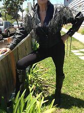 "Black Leather Motorcycle Jacket with Fringe......by ""BONNIE PARKER'S VINTAGE"""
