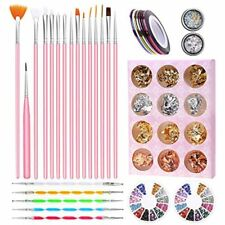 Nail Art Supplies, Anezus Tools Set With 15Pcs Painting Brushes, Dotting Pen, 3D