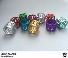 10x Beard Beads UK DE BLADES (oil wax gift xmax Christmas secret santa metal -