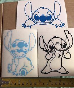 Car Window Decal - Set Of 3 Disney Stitch Vinyl Sticker - Laptop Choose Colour