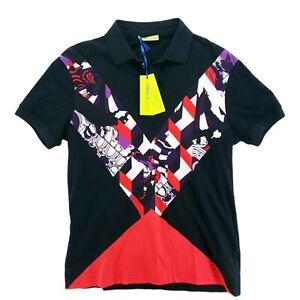Versace Jeans Polo Shirt RARE - SAMPLE - Black Designer Print Geographic SMALL