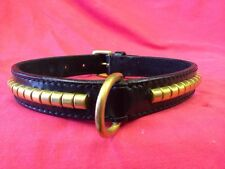 staffordshire bull terrier collar BLACK, BRASS STUDS 18 inch long X 1 Leather