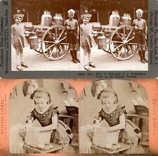 26 lustige Stereofotos, Kinder Children um 1880 - am Strand, als Engel,auf Wiese