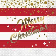 16 X Doré Brillant Feuille Joyeux Noël Serviettes en Papier Rouge