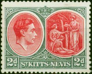 St Kitts & Nevis 1941 2d Scarlet & Grey SG71a Chalk Fine Very Lightly Mtd Mint