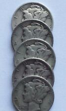 Mercury Dimes - Lot of 5, 1940's dates 90% Silver Mercury Dimes