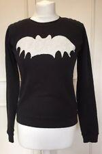 Ladies ZOE KARSSEN Bat print supersoft sweatshirt black with white bat, XS, 8-10