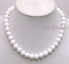 10MM White Round beads White Jade Necklace 18inch JN1032
