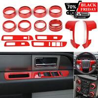 RED Full set Interior Decor Trim Kit Cover Frame For Ford F150 Raptor 2013-2014