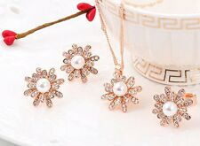 GirlZ! Fashion Gold Color Flower Pearl Austrian Crystal Pendant,Earring&Ring Set