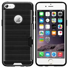 For Apple iPhone 6 Plus 6s Plus 5.5 inch Brushed Hybrid Phone Cover Case - Black