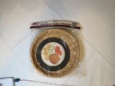 set of 4 BAMBOO paper plate holders NOS WAL-MART weave VINTAGE picnic wicker