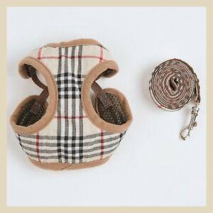 Tartan XXXS XXS XS Small Harness Coat +LEASH Chihuahua Puppy Dog Toy Breeds